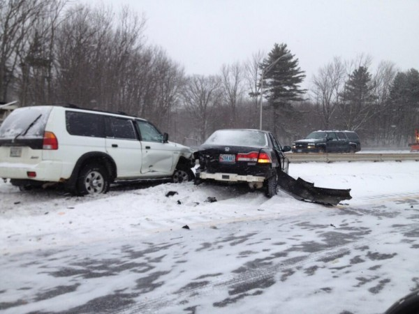 The Maine Turnpike Authority tweeted this picture of a crash near the Maine Mall about 9 a.m.