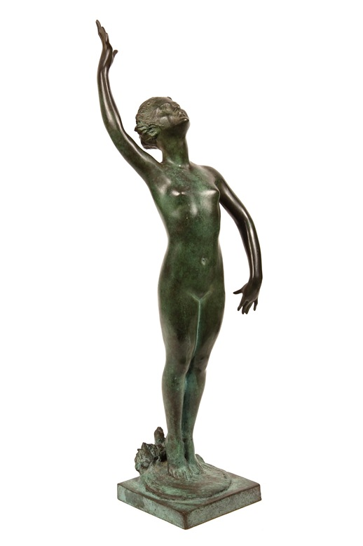 Bronze sculpture, 'Rejoice', by Mabel Viola Conkling (NY/ME, 1871-1966) to be sold  at Thomaston Place Auction Galleries on Feb. 8 & 9