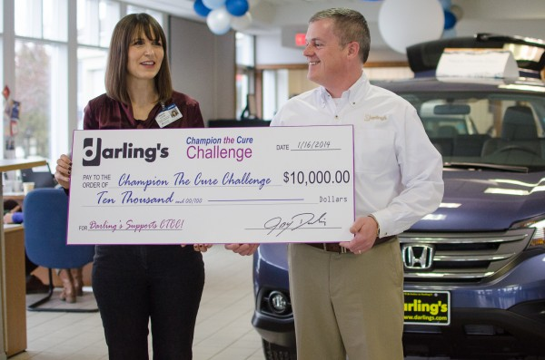 Darling's presented a check for $10,000 to the Champion The Cure Challenge on Jan. 16.