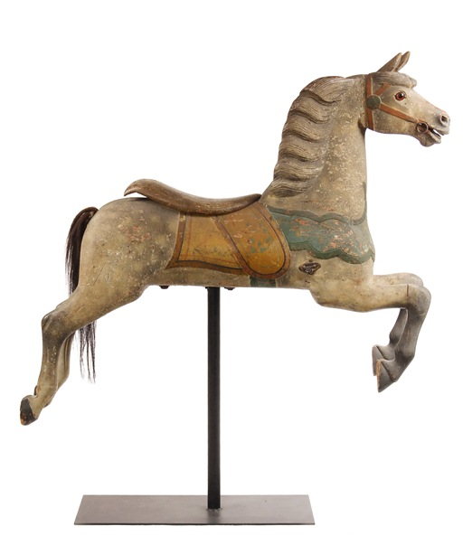 Charles W. Dare dapple grey carousel horse to be sold at Thomaston Place Auction Galleries on Feb. 8 & 9