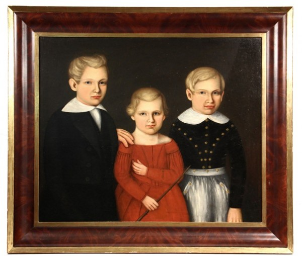 Circa 1830 unsigned American portrait of three siblings to be sold at Thomaston Place Auction Galleries on Feb 8 & 9