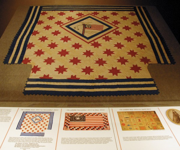 &quotThe Maine Voices in the Civil War&quot exhibit at the Maine State Museum will feature three quilts made during the Civil War. Displayed until November 2013 was a quilt sewn by Mary Octavia Lewis of Jay. On loan from the Belfast Historical Society, the Belfast Soldier's Quilt will be on display until May 2014. The third quilt, to be displayed from May 2014 until April 2015, was sewn by the Ladies' Aid Society of Munjoy Hill in Portland.
