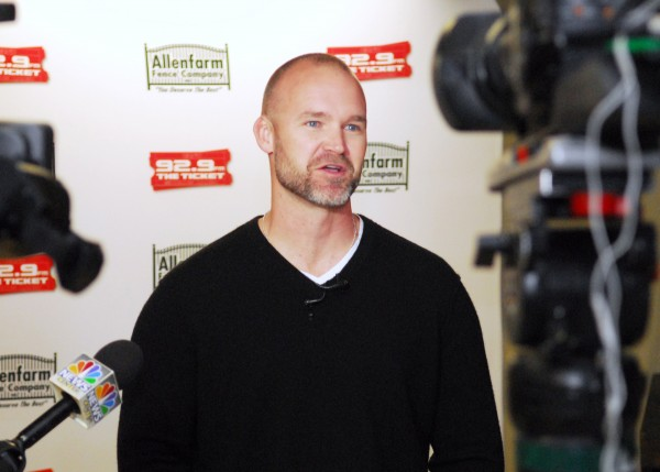 Boston Red Sox catcher David Ross fields questions from the media Wednesday after an evening of question and answers with Red Sox fans at the Gracie Theatre on the campus of Husson University in Bangor.