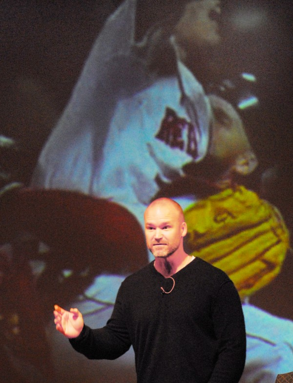Boston Red Sox catcher David Ross answers questions from the audience during Wednesday night's appearance at Husson University's Gracie Theatre in Bangor.