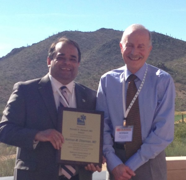 Ritu Sahni, MD, MPH, president of the National Association of EMS Physicians, (left) and Dr. Norm Dinerman (right).