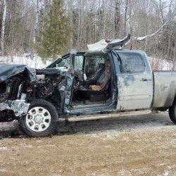 Phillips man hospitalized after pickup collides with logging truck
