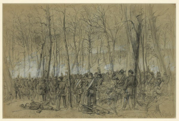 Artist Alfred Waud sketched Union troops deployed in a firing line and shooting at advancing Confederate troops in The Wilderness in early May 1864. These troops belonged to a division commanded by Brig. Gen. James S. Wadsworth; he was shot in the head and mortally wounded on May 6.