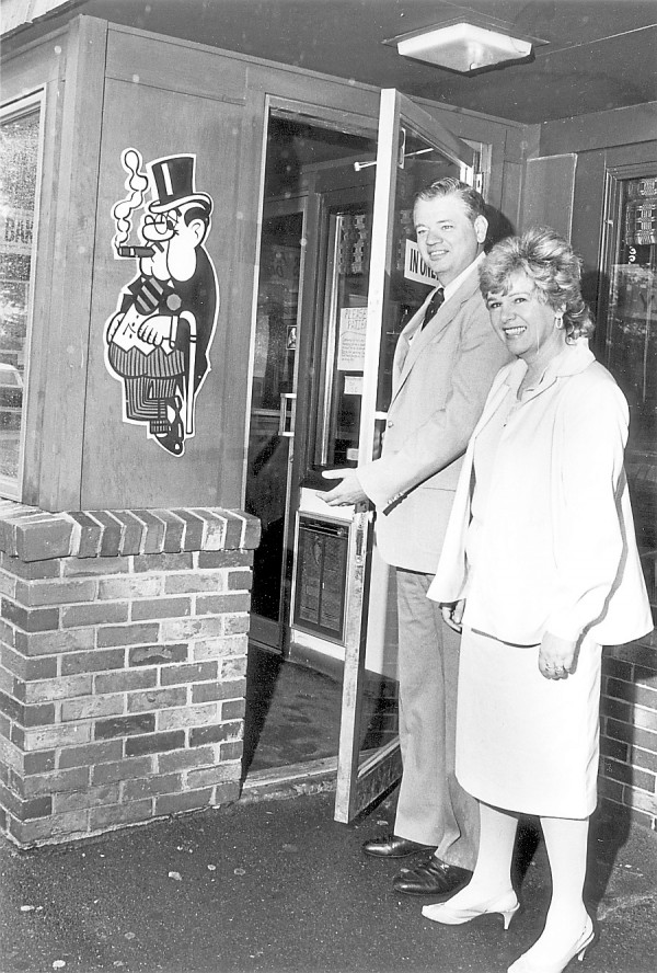 Leith and Donna Wadleigh welcome the photographer to the Old Town restaurant. This photo is likely from the early 1980s, around the 25th anniversary of the restaurant.