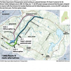 Eddington residents learn state plans 'rolling rural' route for I-395/Route 9 connector