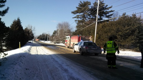 A single-vehicle accident on outer Union Street snapped a utility pole and left homes and businesses in the area without power Sunday afternoon.