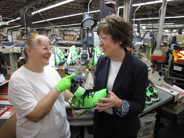 Senator Collins visits the New Balance manufacturing facility in Norway in 2013.