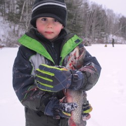 Annual family ice fishing day on Pickerel Pond