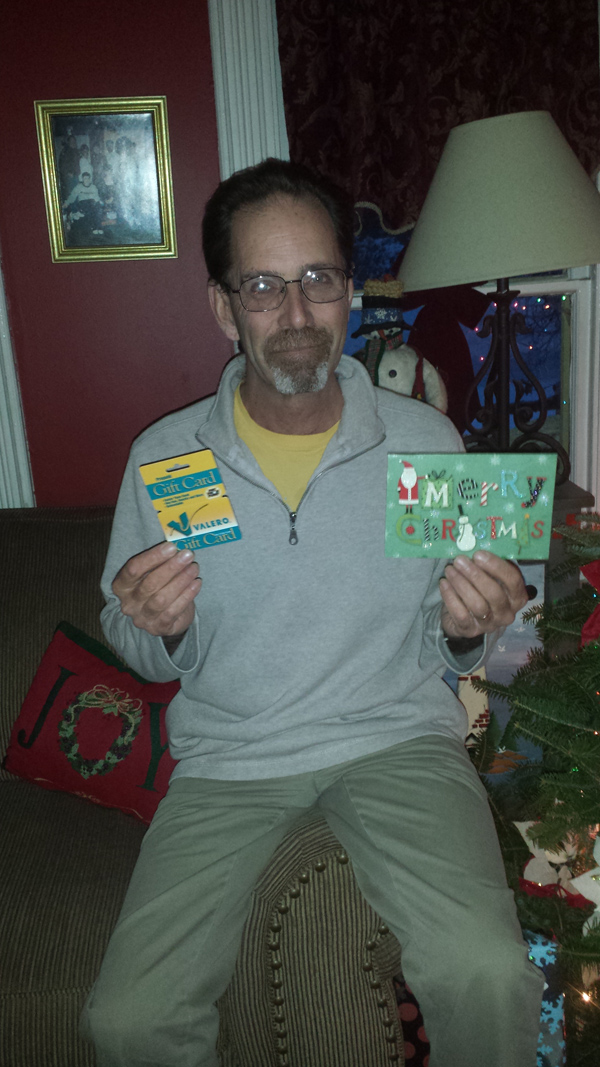 Two days before Christmas, Holden resident Joseph Gunn, a social studies teacher at Ellsworth High School, found an anonymous gift under his windshield wiper. The gift included a $5 gas card and a child's note that said he was giving away a month's worth of his allowance to strangers.