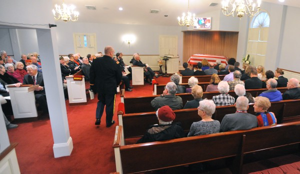 People gather for Bill Knight's funeral service at Brookings-Smith funeral home in Bangor Sunday. Knight died in December of 2013 at the age of 91.