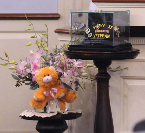 Memorabilia displayed during Bill Knight's funeral service at Brookings-Smith funeral home in Bangor Sunday. Knight died in December 2013 at the age of 91.
