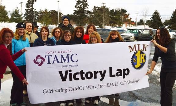TAMC held a MLK 1K event at noon on Martin Luther King Day, with more than a dozen employees and community members taking a quick break over lunch to participate in a healthy activity while celebrating TAMC's win of the EMHS Fall Challenge.
