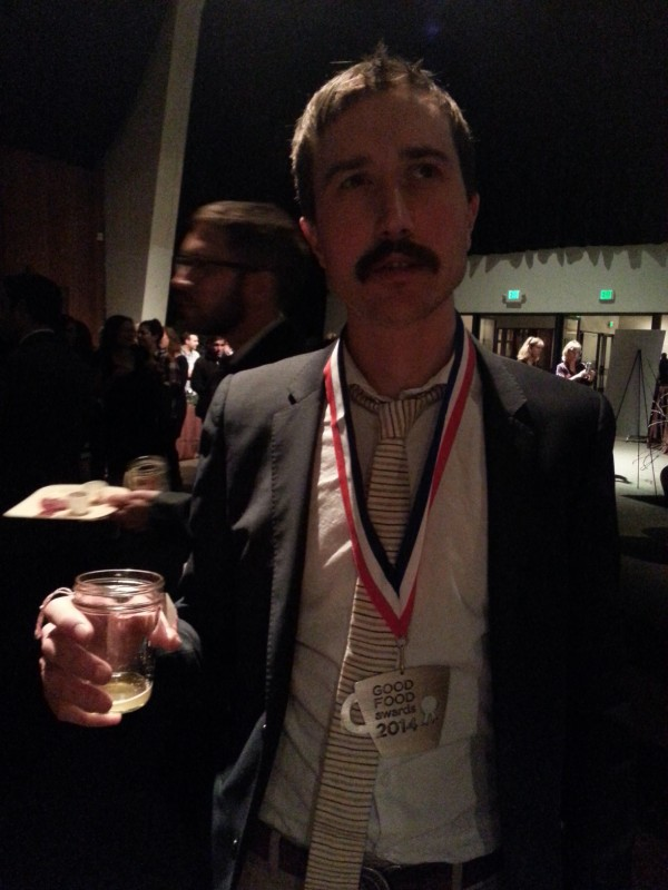 Tandem Coffee Roasters owner William Pratt after he received his Good Food Award Thursday, Jan. 16, 2014 in San Francisco.