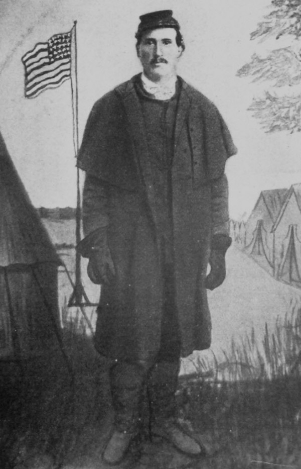 Pvt. Samuel B. Wing of Phillips stood in front of a stylized backdrop to be photographed in late 1863 or early 1864. Drafted into the 3rd Maine Infantry Regiment in 1864, he was shot in the right side during the May 1864 Battle of The Wilderness in Virginia. The large-caliber bullet lodged in his right lung.