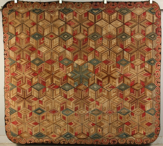 Room size hooked rug from the Barrie & William Pribyl Collection to be sold at Thomaston Place Auction Galleries on Feb. 8 & 9