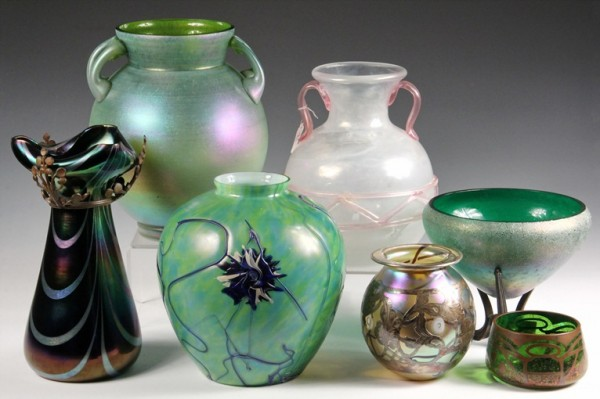 Sampling from a large collection of art glass to be sold at Thomaston Place Auction Galleries on Feb. 8 & 9