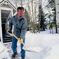 Protect back and heart when shoveling snow