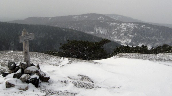 Snow spreads across the summit of Acadia Mountain in Acadia National Park in early January 2012. To the west spread other mountains on the Quietside of Mount Desert Island.