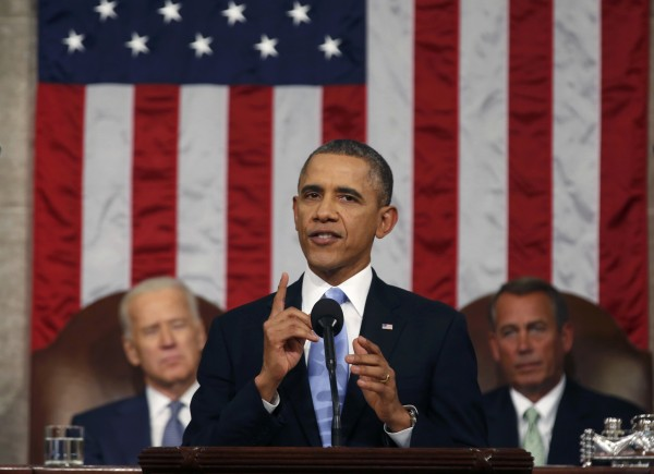 President Barack Obama delivers his State of the Union speech on Capitol Hill in Washington, Jan. 28, 2014.