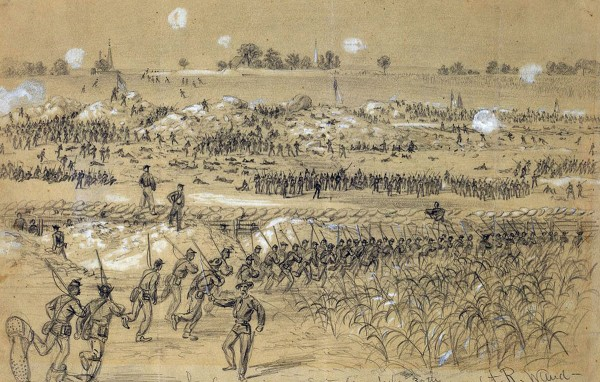 Artist Alfred Waud sketched the Union infantry assault on The Crater at approximately 8 a.m. on Saturday, July 30, 1864. As Union troops rush into the forward trenches (foreground) to reinforce the attack, other Union soldiers climb up the mounded earth left after 4 tons of gunpowder blew a huge hole in the forward Confederate defenses. Beyond The Crater spreads the high ground upon which the Confederate secondary defenses were located; if they had attacked those defenses as expected, Union troops could have shattered the enemy lines and marched into Petersburg, Va. This image was published in the in Aug. 22, 1864 Harper's Weekly.