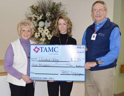 Claudia Stevens, executive director of United Way of Aroostook, was recently presented a check for $2,000 from Gina Ritchie and Tom Umphrey from TAMC's human resources department to support United Way efforts.  The money was raised from a silent auction held before Christmas as part of the healthcare facility's ongoing United Way workplace campaign.  TAMC employees donated nearly $25,000 in total last year to United Way.