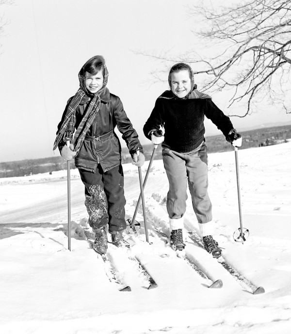 Janice Grant, left, and Corinne Auld, both for Brewer, are ready for a ski-fun down a hill at Penobscot Valley Country Club.
