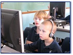 From left, Thomas Fortin (grade five), Jayden Quirion (kindergarten).