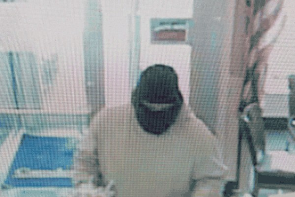 Police surveillance image of a Camden National Bank robbery Jan. 18.