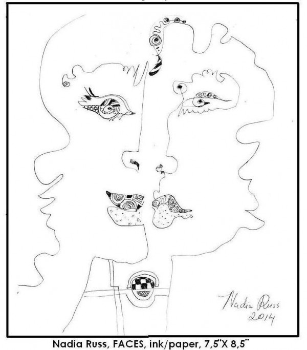 Nadia Russ, Faces, ink/paper, 2014, NeoPopRealism