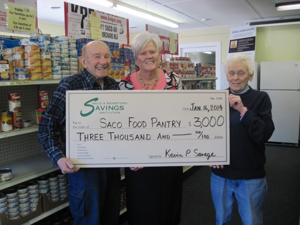 From left: Bob Nichols, Saco Food Pantry Director, Lynne Belanger, SBSI Saco Branch Manager and Alice Finnegan, Saco Food Pantry Chairperson.