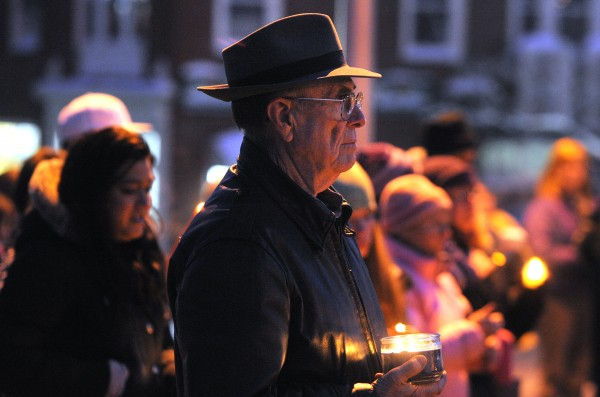 Darold Dorr of Franklin was one of about 200 people who gathered at the Ellsworth City Hall for a vigil to remember Hilary Saenz, 29, who was found murdered on Christmas Day.