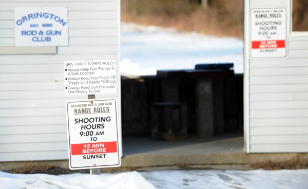 Safety signs that remind shooters to be careful are posted at the Orrington Rod and Gun club in Orrington on Tuesday.