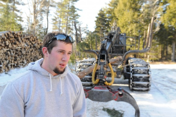 Logger Dustin Young says he had to take cover behind his rig when he heard stray bullets whiz over his head while in a log yard just off Perkins Point Road recently.