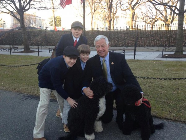 Ford, 13, Owen, 11, and Lindell, 7, Smiley visit with U.S. Rep. Mike Michaud and the Obama family's dogs, Bo and Sunny, at the White House last week. Dustin and Sarah Smiley were in Washington, D.C., to attend a State Dinner being held for French President Francois Hollande.