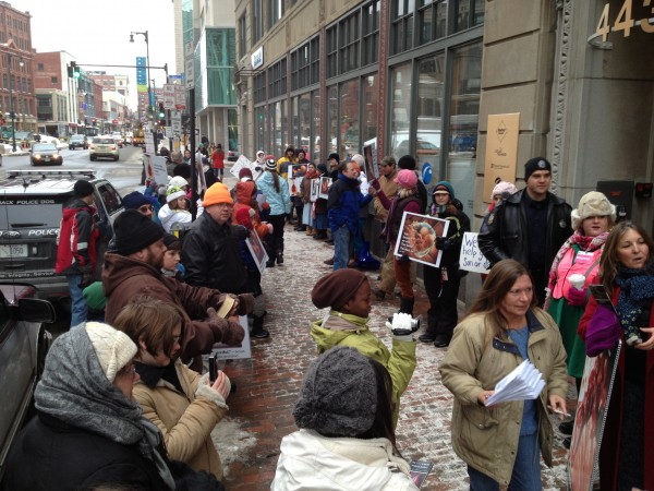 Abortion rights protesters gather near Planned Parenthood on Congress Street in Portland on Friday, Jan. 4, 2013.