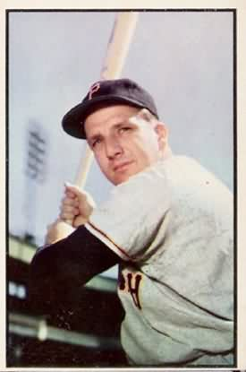 Ralph Kiner poses on this 1953 Bowman baseball card. Kiner, Pittsburgh Pirates batter and broadcast voice of the New York Mets, died at the age of 91.