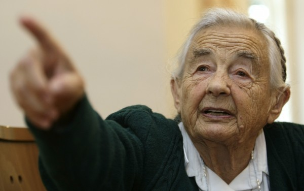 Maria von Trapp, daughter of Austrian Baron Georg von Trapp, gestures during an interview with Reuters in her former home, Villa Trapp, in Salzburg in this July 2008 file photo. Von Trapp has died at the age of 99.