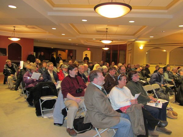 About 75 people turned out Wednesday night to ask questions and comment on a proposed hotel on the Rockland waterfront.