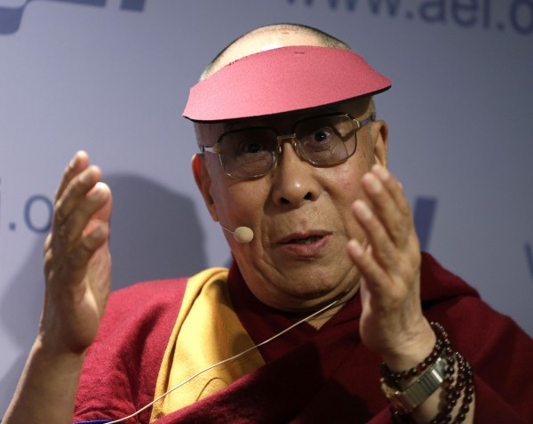 The Dalai Lama addresses the American Enterprise Institute in Washington on Feb. 20.
