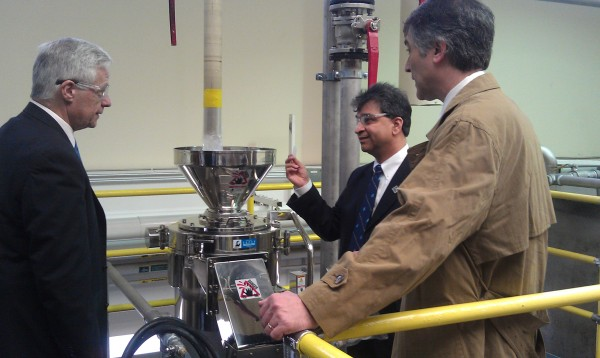 U.S. Rep. Mike Michaud, left, tours the University of Maine's Cellulose Nanofiber Pilot Plant during a Paper Days conference last year.