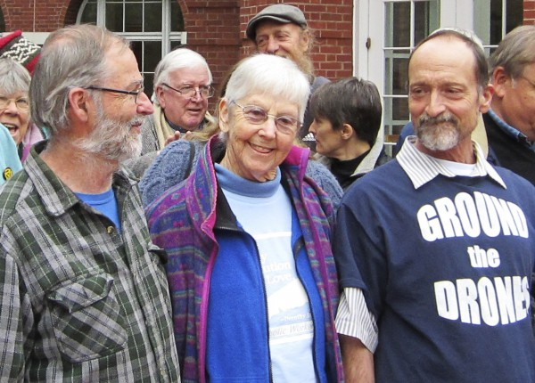 Greg Boertje-Obed, left, Sister Megan Rice and Michael Walli are pictured with supporters after a hearing in Knoxville, Tennessee on February 7, 2013. The three peace activists will be sentenced Tuesday for damage they caused in breaking into a Tennessee defense facility where enriched uranium for nuclear bombs is stored.