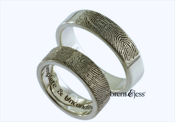 Custom fingerprint rings from Brent&Jess in Topsham.