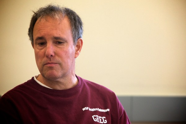 Greg Warmke, a prisoner at the Maine State Prison in Warren, talks about his experience as a hospice volunteer on Friday. Volunteers in the program care for terminally and chronically ill prisoners.