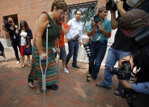 Boston Marathon bombing survivor Karen Brassard arrives at the federal courthouse for the court appearance by accused Boston Marathon bomber Dzhokhar Tsarnaev in Boston, Massachusetts on July 10, 2013.