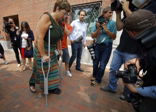 Boston Marathon bombing survivor Karen Brassard arrives at the federal courthouse for the court appearance by accused Boston Marathon bomber Dzhokhar Tsarnaev in Boston, Massachusetts on July 10, 2013.