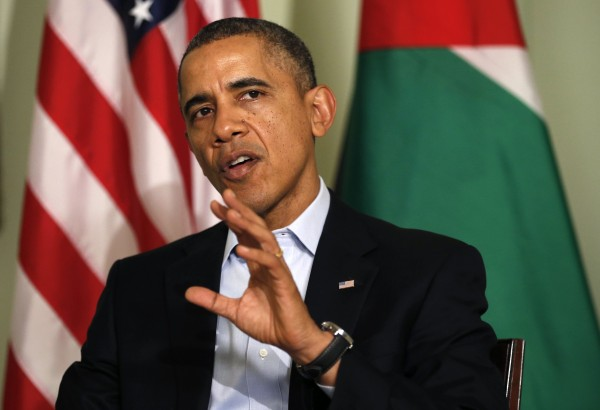 U.S. President Barack Obama speaks during his meeting with Jordan's King Abdullah at Sunnylands in Rancho Mirage, California February 14, 2014.